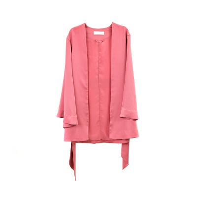 pastel kimono blazer with belt dusty pink